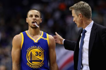 WASHINGTON, DC - FEBRUARY 28: Stephen Curry #30 of the Golden State Warriors talks with head coach Steve Kerr during a first half time out against the Washington Wizards at Verizon Center on February 28, 2017 in Washington, DC. NOTE TO USER: User expressly acknowledges and agrees that, by downloading and or using this photograph, User is consenting to the terms and conditions of the Getty Images License Agreement.  (Photo by Rob Carr/Getty Images)