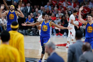 PORTLAND, OR - APRIL 22:  Andre Iguodala #9 of the Golden State Warriors celebrates a dunk against  the Portland Trail Blazers during Game Three of the Western Conference Quarterfinals of  the 2017 NBA Playoffs at Moda Center on April 22, 2017 in Portland, Oregon.  NOTE TO USER: User expressly acknowledges and agrees that, by downloading and or using this photograph, User is consenting to the terms and conditions of the Getty Images License Agreement.  (Photo by Jonathan Ferrey/Getty Images)